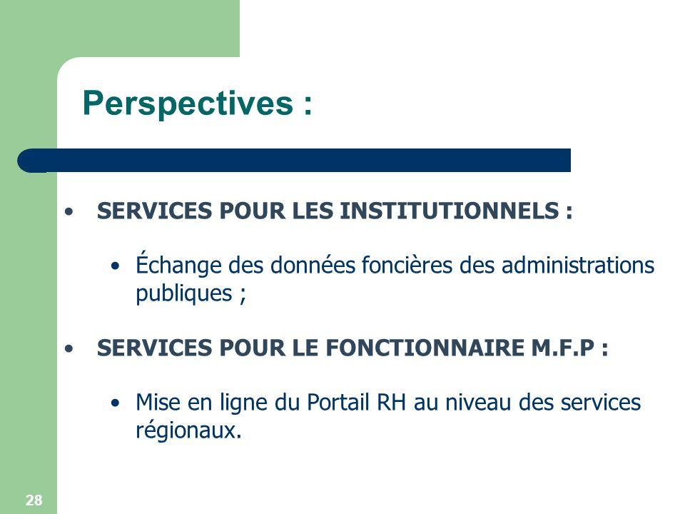 28 Perspectives : SERVICES POUR LES INSTITUTIONNELS : Échange des données foncières des administrations publiques ; SERVICES POUR LE FONCTIONNAIRE M.F