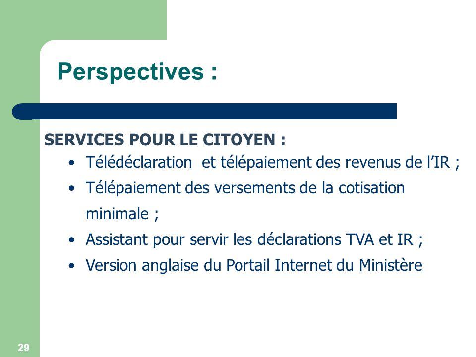 29 Perspectives : SERVICES POUR LE CITOYEN : Télédéclaration et télépaiement des revenus de lIR ; Télépaiement des versements de la cotisation minimal