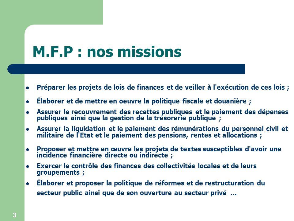3 M.F.P : nos missions Préparer les projets de lois de finances et de veiller à l'exécution de ces lois ; Élaborer et de mettre en oeuvre la politique
