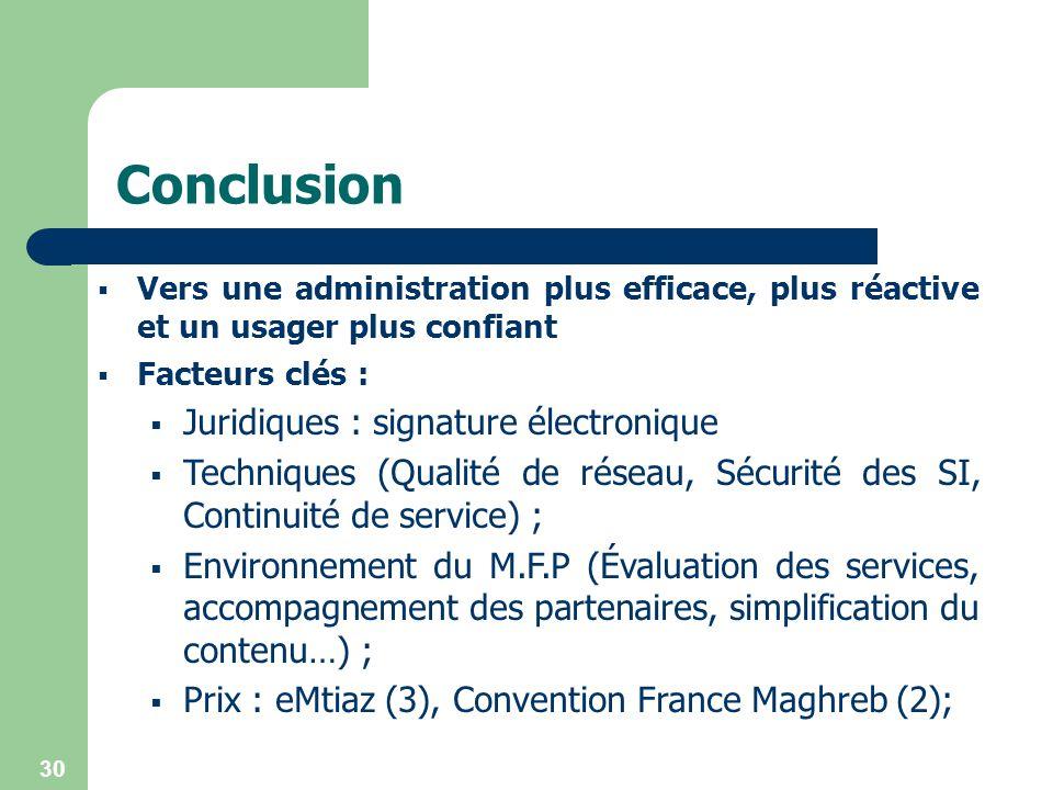 30 Conclusion Vers une administration plus efficace, plus réactive et un usager plus confiant Facteurs clés : Juridiques : signature électronique Tech