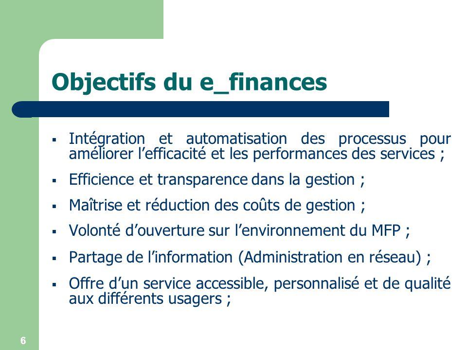 6 Objectifs du e_finances Intégration et automatisation des processus pour améliorer lefficacité et les performances des services ; Efficience et tran