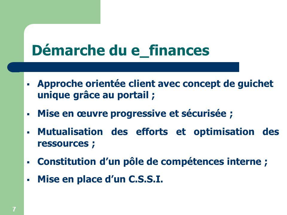 7 Démarche du e_finances Approche orientée client avec concept de guichet unique grâce au portail ; Mise en œuvre progressive et sécurisée ; Mutualisa