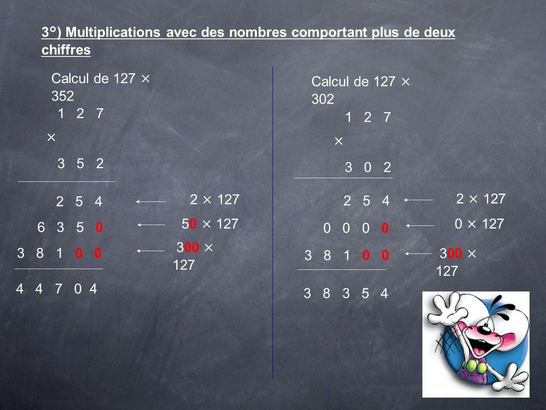 3°) Multiplications avec des nombres comportant plus de deux chiffres Calcul de 127 × 352 1 2 7 × 3 5 2 2 5 4 2 × 127 6 3 5 0 50 × 127 3 8 1 0 0 300 ×