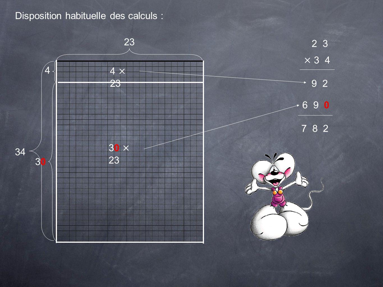 Calcul automatisé : 2 3 × 3 4 2 4 × 3 = 12 Jécris 2 et je retiens 1 4 × 2 = 8 Avec la retenue ça fait 9 9 0 Maintenant, je devrais multiplier 23 par 30 mais je mets un 0 et je vais pouvoir multiplier 23 par 3.