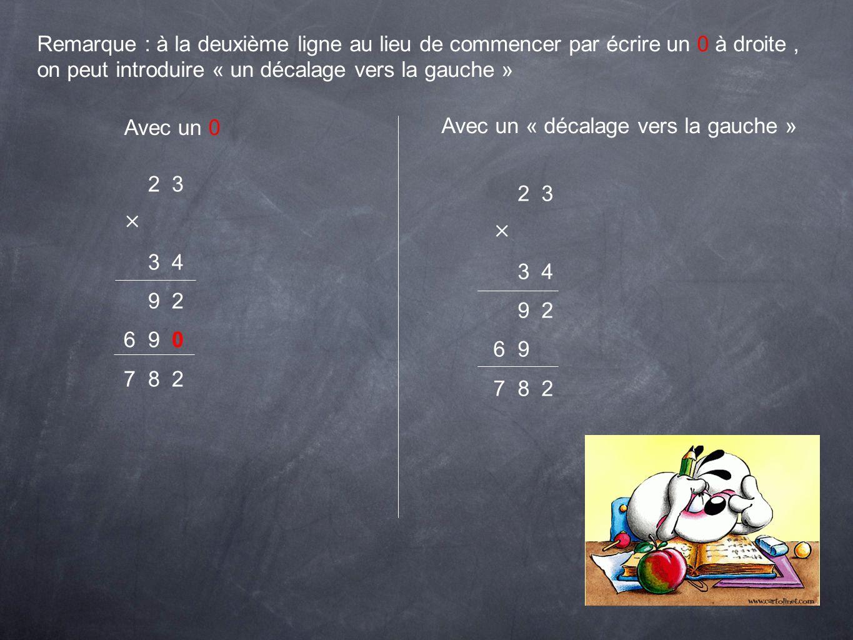 Remarque : à la deuxième ligne au lieu de commencer par écrire un 0 à droite, on peut introduire « un décalage vers la gauche » Avec un 0 Avec un « dé