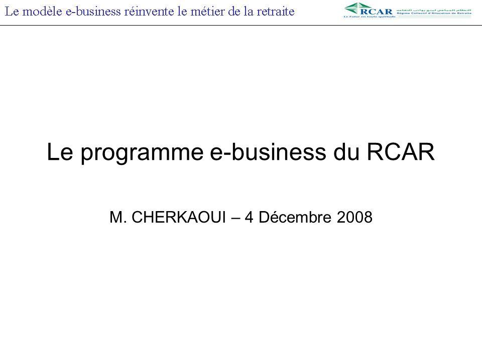 Le programme e-business du RCAR M. CHERKAOUI – 4 Décembre 2008