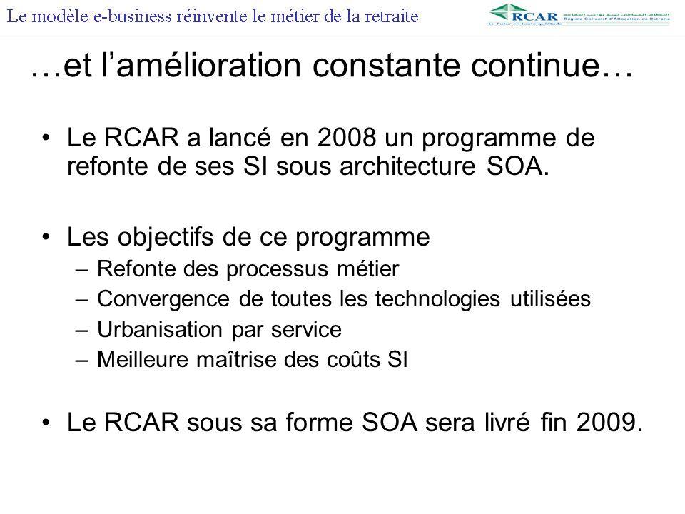 …et lamélioration constante continue… Le RCAR a lancé en 2008 un programme de refonte de ses SI sous architecture SOA.