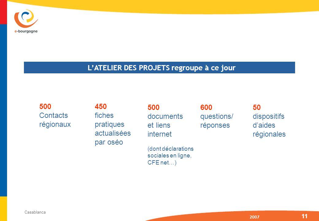 2007 Casablanca 11 500 Contacts régionaux 450 fiches pratiques actualisées par oséo 50 dispositifs daides régionales 500 documents et liens internet (dont déclarations sociales en ligne, CFE net…) 600 questions/ réponses LATELIER DES PROJETS regroupe à ce jour