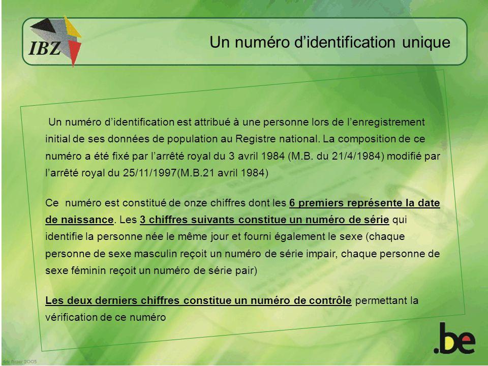 Un numéro didentification est attribué à une personne lors de lenregistrement initial de ses données de population au Registre national.
