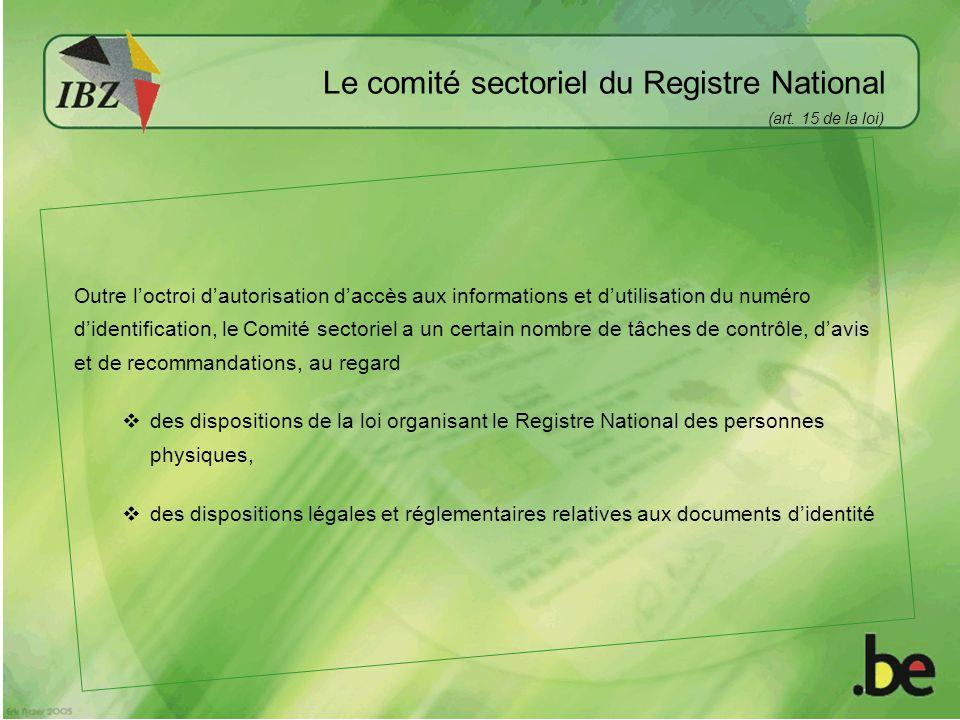 Le comité sectoriel du Registre National (art.