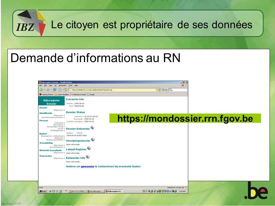 Demande dinformations au RN https://mondossier.rrn.fgov.be Le citoyen est propriétaire de ses données