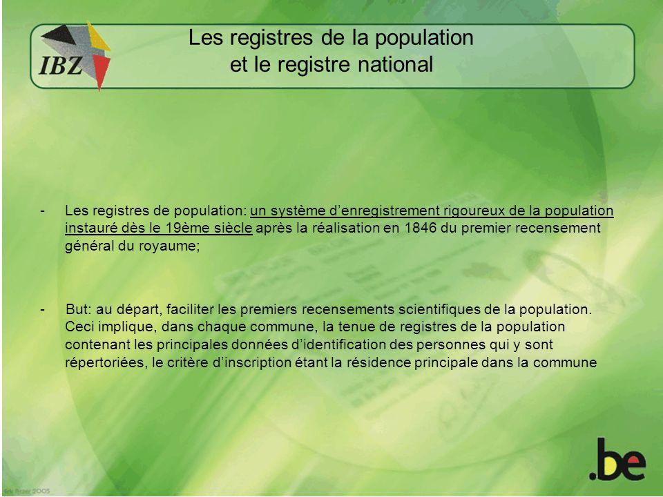 Des registres de population vers un Registre national des personnes physiques.