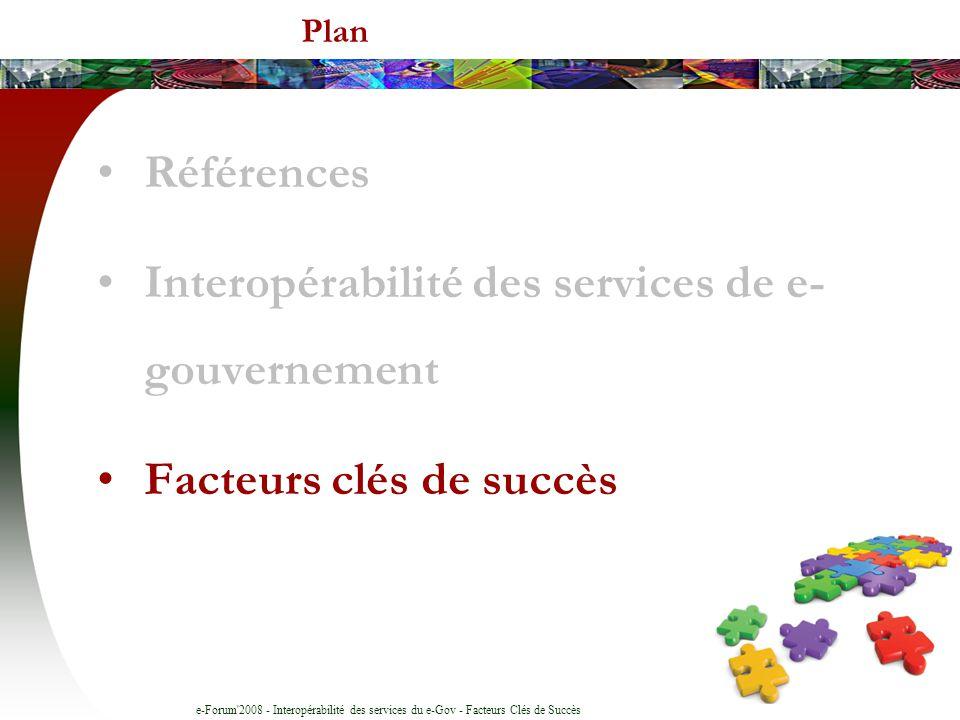 e-Forum'2008 - Interopérabilité des services du e-Gov - Facteurs Clés de Succès Plan Références Interopérabilité des services de e- gouvernement Facte
