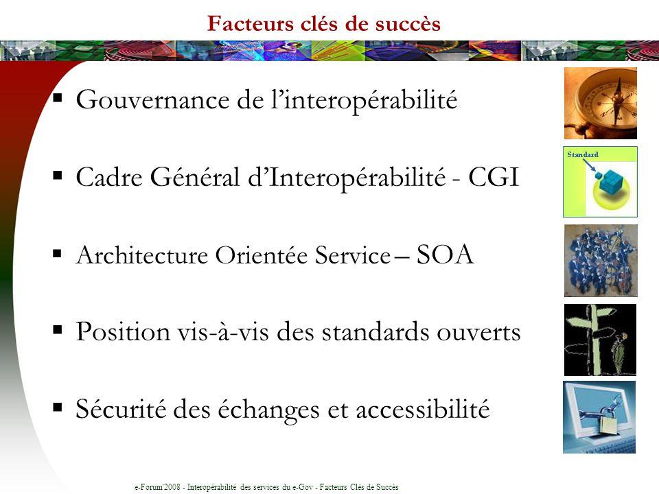 e-Forum 2008 - Interopérabilité des services du e-Gov - Facteurs Clés de Succès Facteurs clés de succès Gouvernance de linteropérabilité Cadre Général dInteropérabilité - CGI Architecture Orientée Service – SOA Position vis-à-vis des standards ouverts Sécurité des échanges et accessibilité