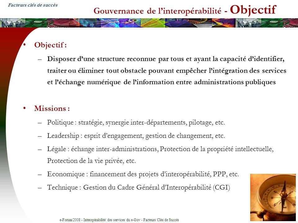 e-Forum'2008 - Interopérabilité des services du e-Gov - Facteurs Clés de Succès Gouvernance de linteropérabilité - Objectif Objectif : –Disposer dune
