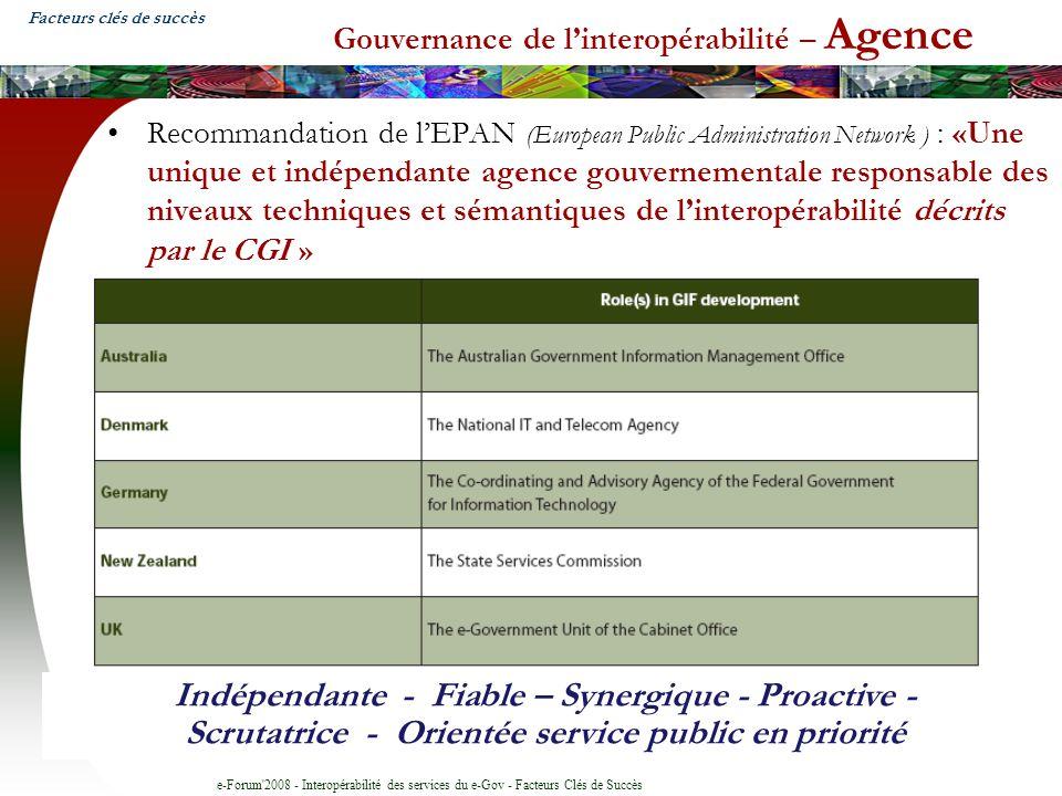 e-Forum'2008 - Interopérabilité des services du e-Gov - Facteurs Clés de Succès Gouvernance de linteropérabilité – Agence Recommandation de lEPAN (Eur