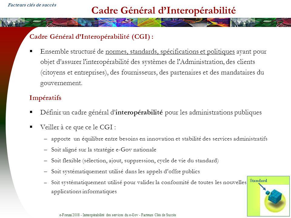 e-Forum'2008 - Interopérabilité des services du e-Gov - Facteurs Clés de Succès Cadre Général dInteropérabilité Cadre Général dInteropérabilité (CGI)