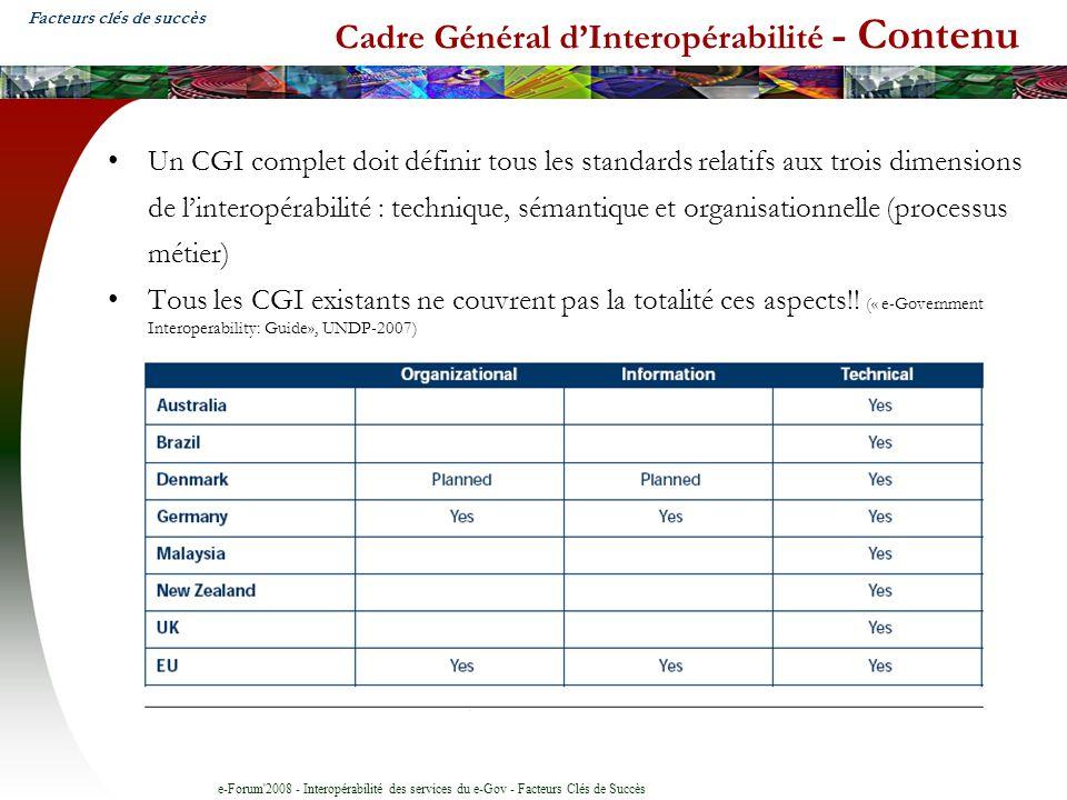 e-Forum'2008 - Interopérabilité des services du e-Gov - Facteurs Clés de Succès Cadre Général dInteropérabilité - Contenu Un CGI complet doit définir