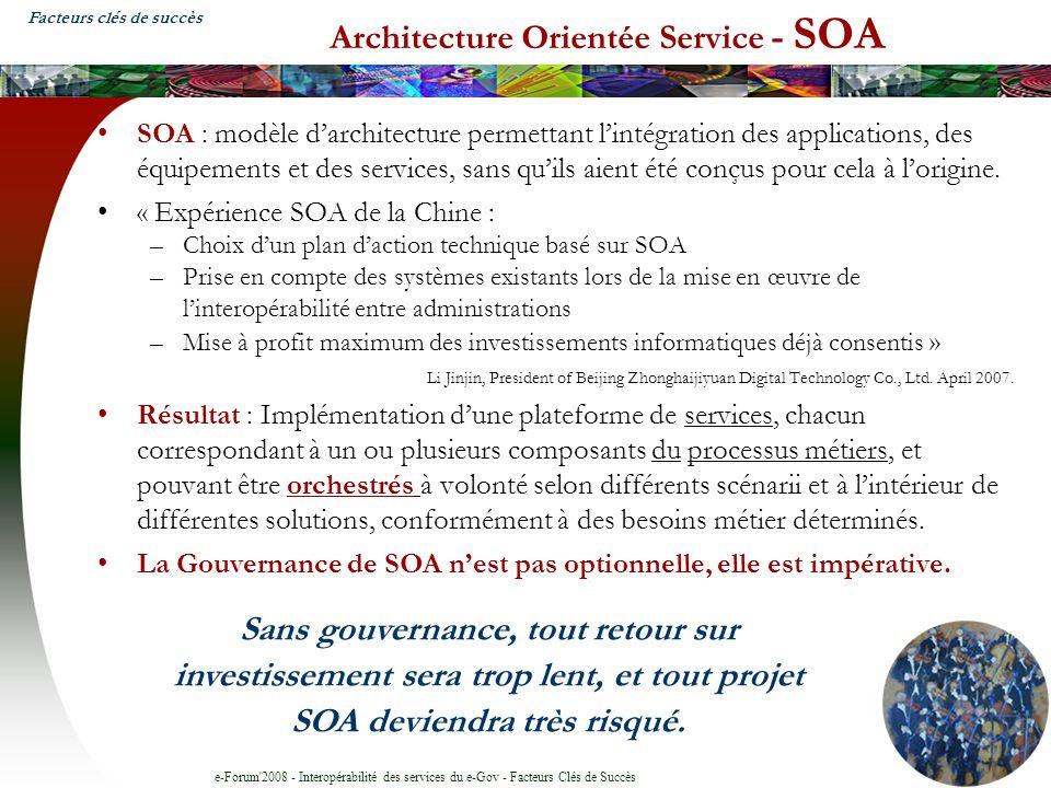 e-Forum 2008 - Interopérabilité des services du e-Gov - Facteurs Clés de Succès Architecture Orientée Service - SOA SOA : modèle darchitecture permettant lintégration des applications, des équipements et des services, sans quils aient été conçus pour cela à lorigine.