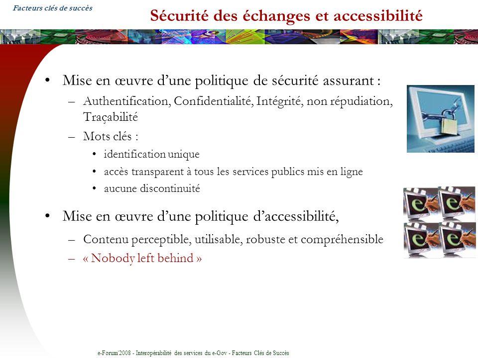 e-Forum'2008 - Interopérabilité des services du e-Gov - Facteurs Clés de Succès Sécurité des échanges et accessibilité Mise en œuvre dune politique de