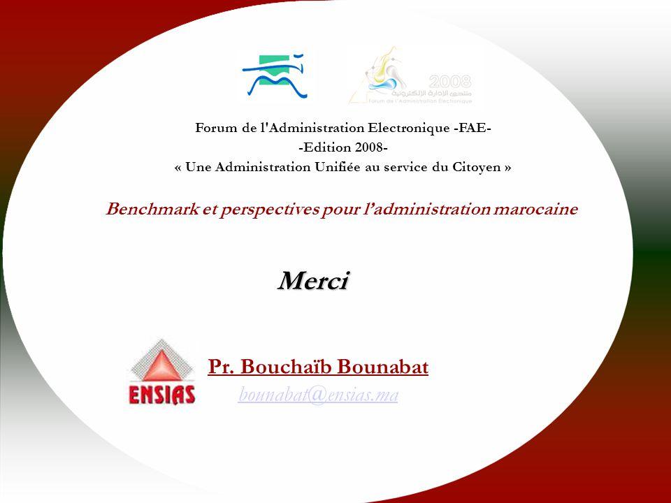 e-Forum 2008 - Interopérabilité des services du e-Gov - Facteurs Clés de Succès Merci Forum de l Administration Electronique -FAE- -Edition 2008- « Une Administration Unifiée au service du Citoyen » Benchmark et perspectives pour ladministration marocaine Pr.