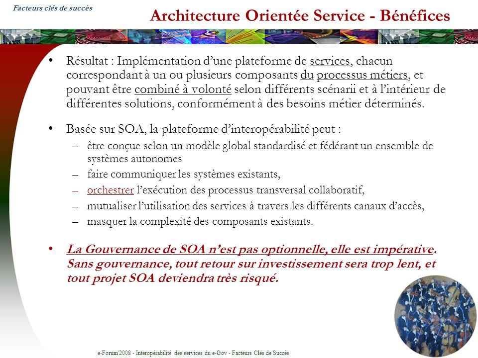 e-Forum'2008 - Interopérabilité des services du e-Gov - Facteurs Clés de Succès Architecture Orientée Service - Bénéfices Résultat : Implémentation du