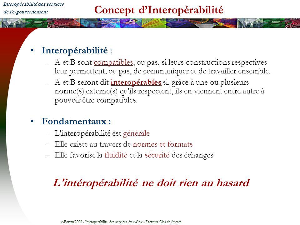 e-Forum'2008 - Interopérabilité des services du e-Gov - Facteurs Clés de Succès Concept dInteropérabilité Interopérabilité : –A et B sont compatibles,