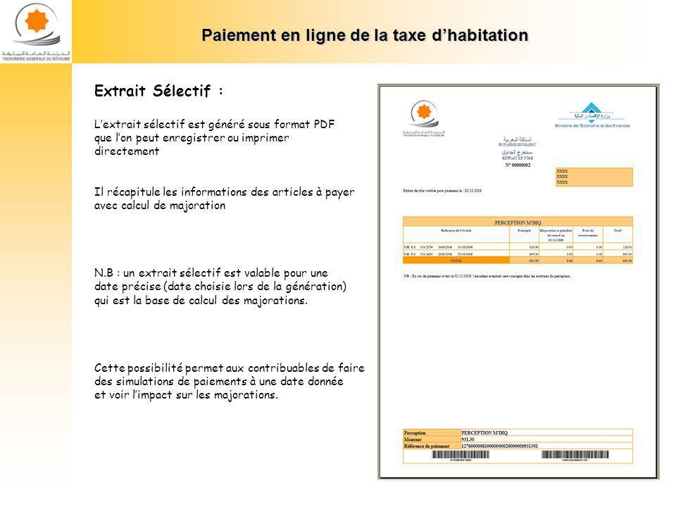 Paiement en ligne de la taxe dhabitation Paiement : Extrait Sélectif