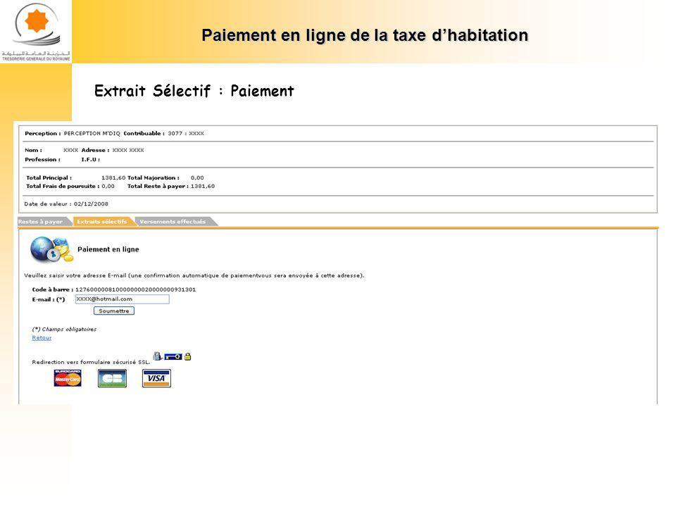 Paiement en ligne de la taxe dhabitation Extrait Sélectif : Paiement