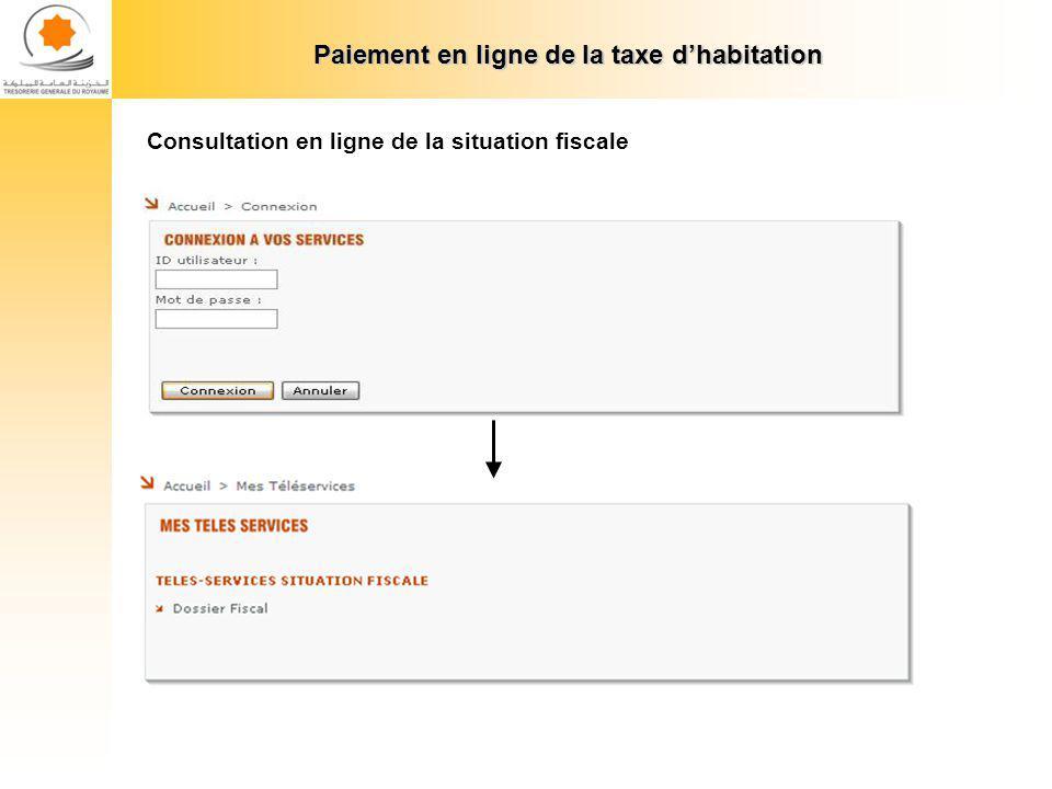 Paiement en ligne de la taxe dhabitation Consultation en ligne de la situation fiscale : Reste à payer