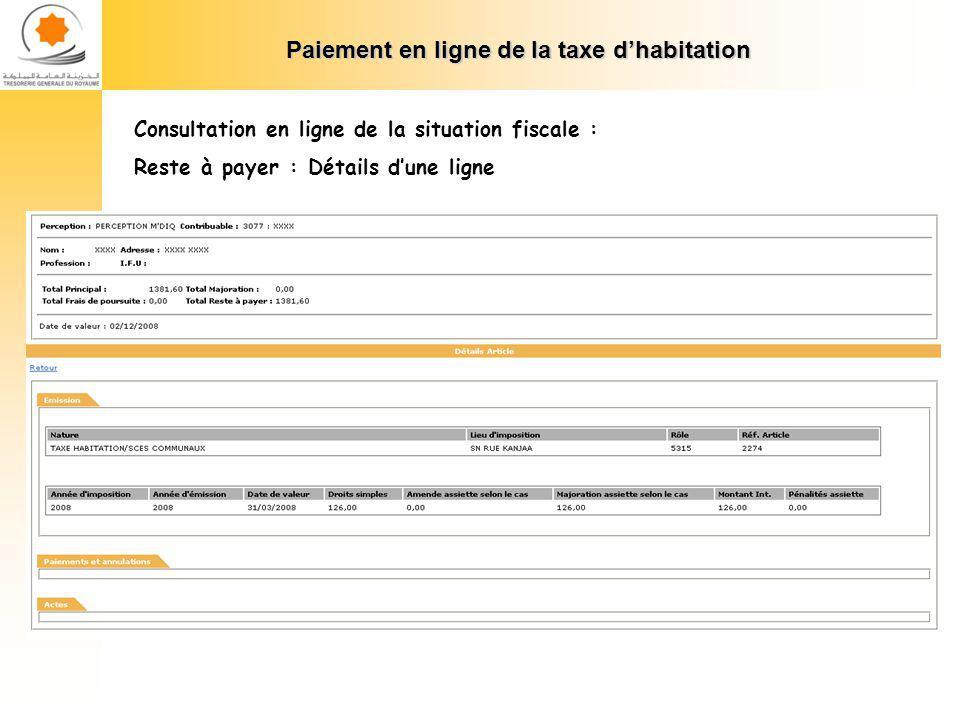 Paiement en ligne de la taxe dhabitation Consultation en ligne de la situation fiscale : Versements effectués