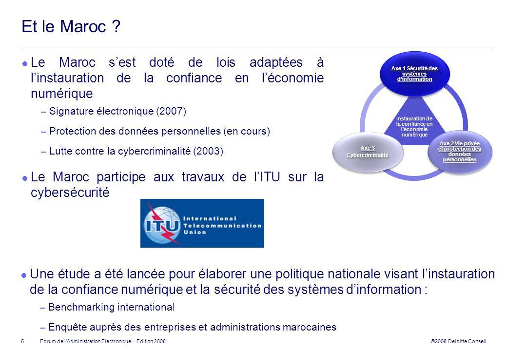 ©2008 Deloitte Conseil Forum de lAdministration Electronique - Edition 2008 Et le Maroc ? Le Maroc sest doté de lois adaptées à linstauration de la co