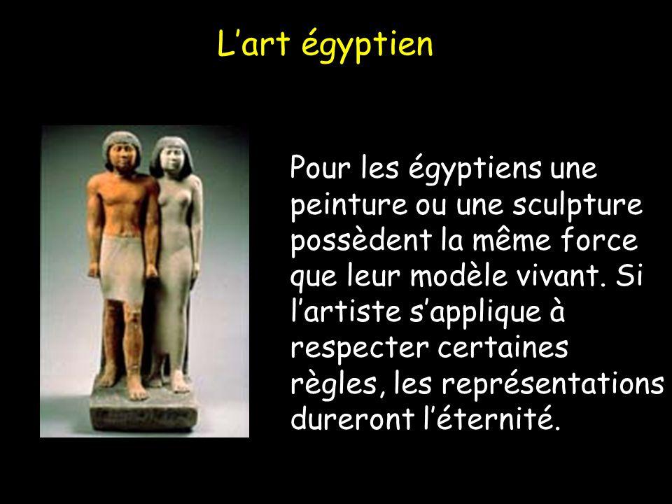 Lart égyptien Pour les égyptiens une peinture ou une sculpture possèdent la même force que leur modèle vivant. Si lartiste sapplique à respecter certa
