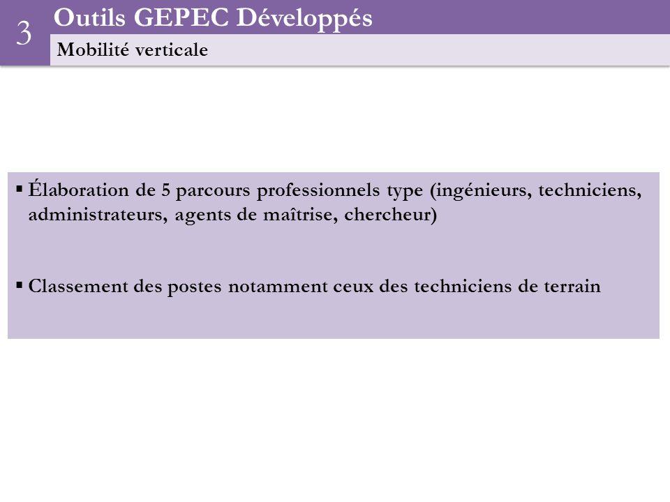 Outils GEPEC Développés Mobilité verticale 3 Élaboration de 5 parcours professionnels type (ingénieurs, techniciens, administrateurs, agents de maîtrise, chercheur) Classement des postes notamment ceux des techniciens de terrain