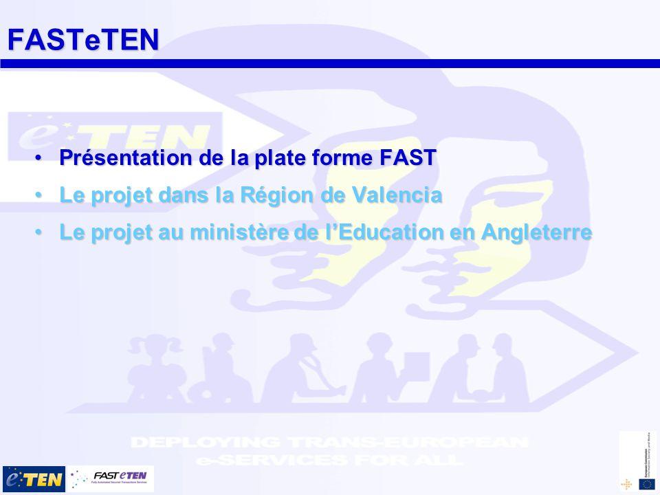 FASTeTEN Présentation de la plate forme FASTPrésentation de la plate forme FAST Le projet dans la Région de ValenciaLe projet dans la Région de Valencia Le projet au ministère de lEducation en AngleterreLe projet au ministère de lEducation en Angleterre