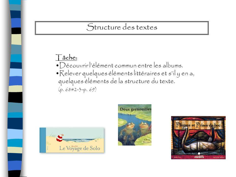 Structure des textes Tâche: Découvrir lélément commun entre les albums. Relever quelques éléments littéraires et sil y en a, quelques éléments de la s