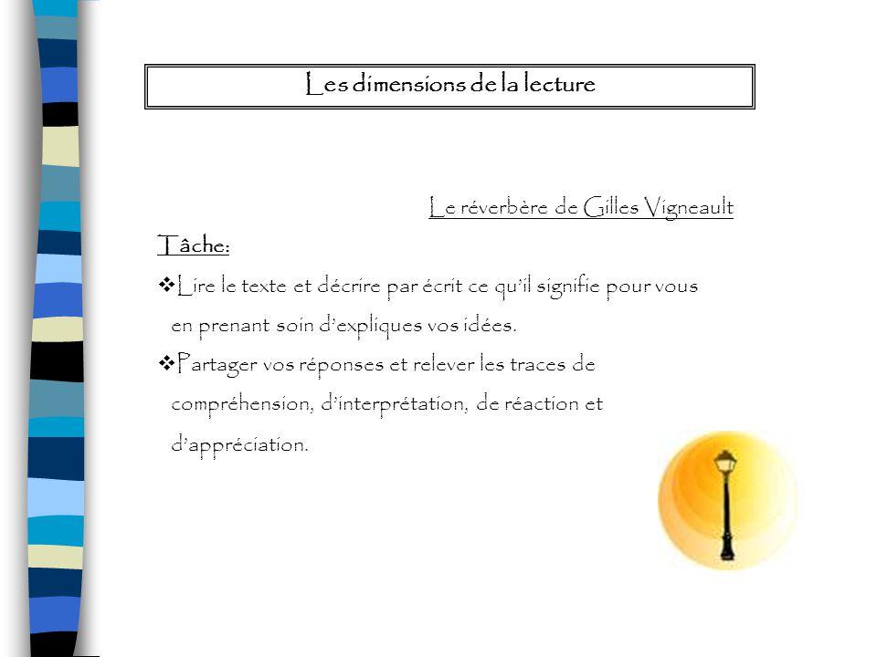 Les dimensions de la lecture Le réverbère de Gilles Vigneault Tâche: Lire le texte et décrire par écrit ce quil signifie pour vous en prenant soin dex