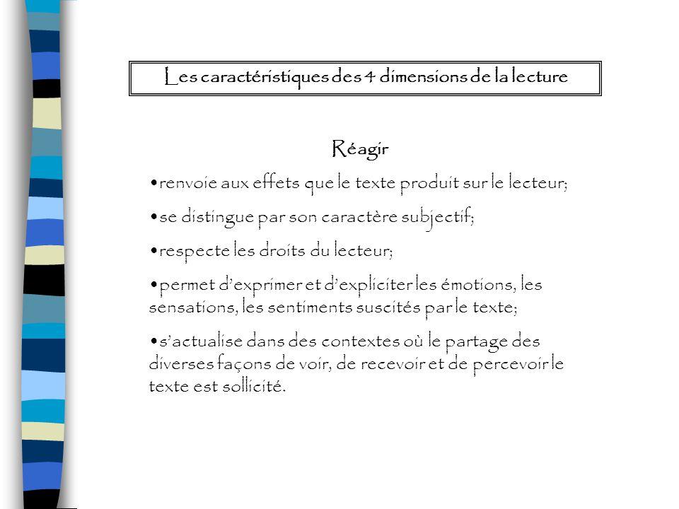 Réagir renvoie aux effets que le texte produit sur le lecteur; se distingue par son caractère subjectif; respecte les droits du lecteur; permet dexpri