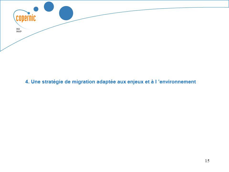 15 4. Une stratégie de migration adaptée aux enjeux et à l environnement