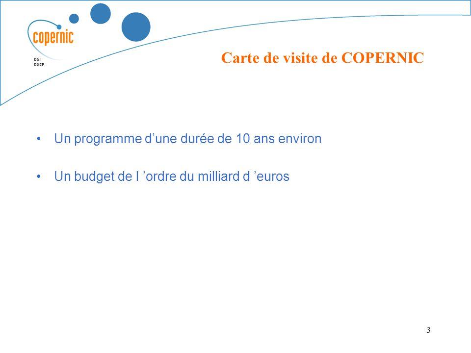 3 Un programme dune durée de 10 ans environ Un budget de l ordre du milliard d euros Carte de visite de COPERNIC