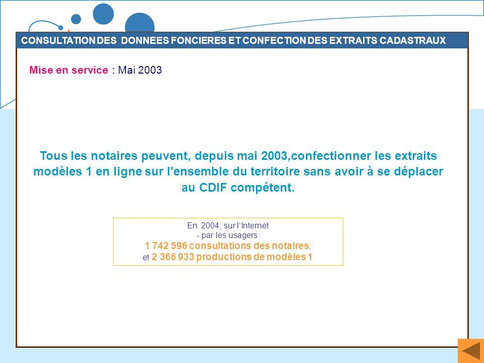 37 Mise en service : Mai 2003 CONSULTATION DES DONNEES FONCIERES ET CONFECTION DES EXTRAITS CADASTRAUX Tous les notaires peuvent, depuis mai 2003,conf