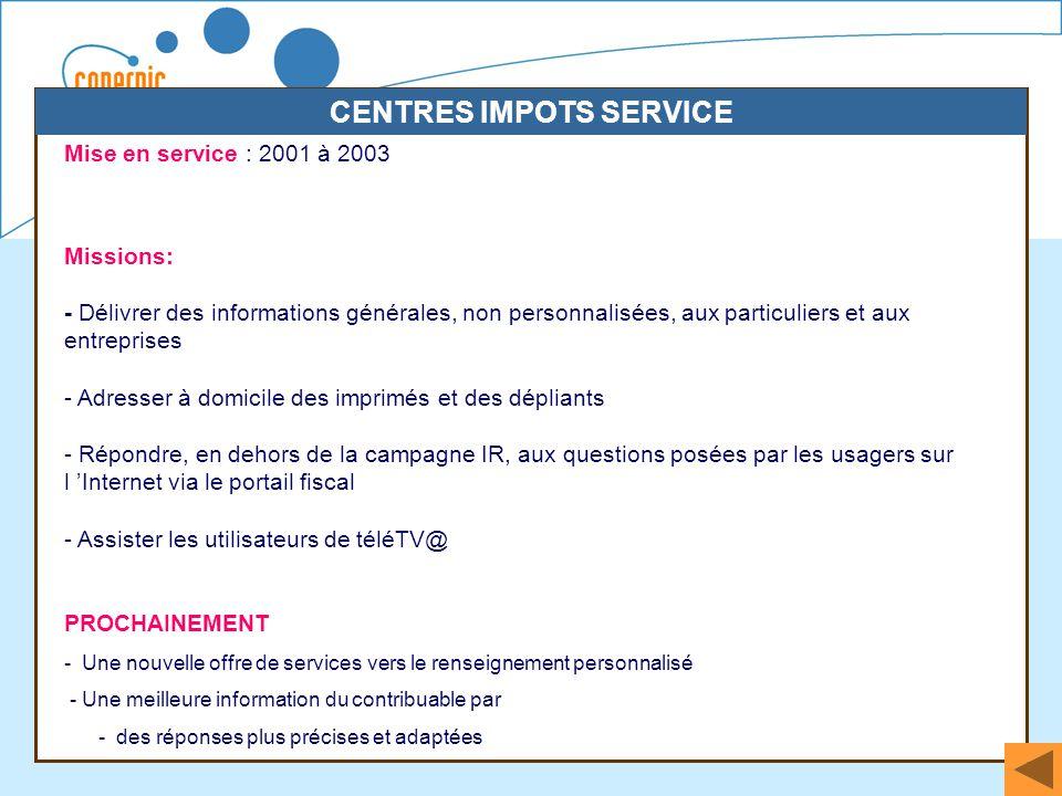 39 Mise en service : 2001 à 2003 Missions: - Délivrer des informations générales, non personnalisées, aux particuliers et aux entreprises - Adresser à