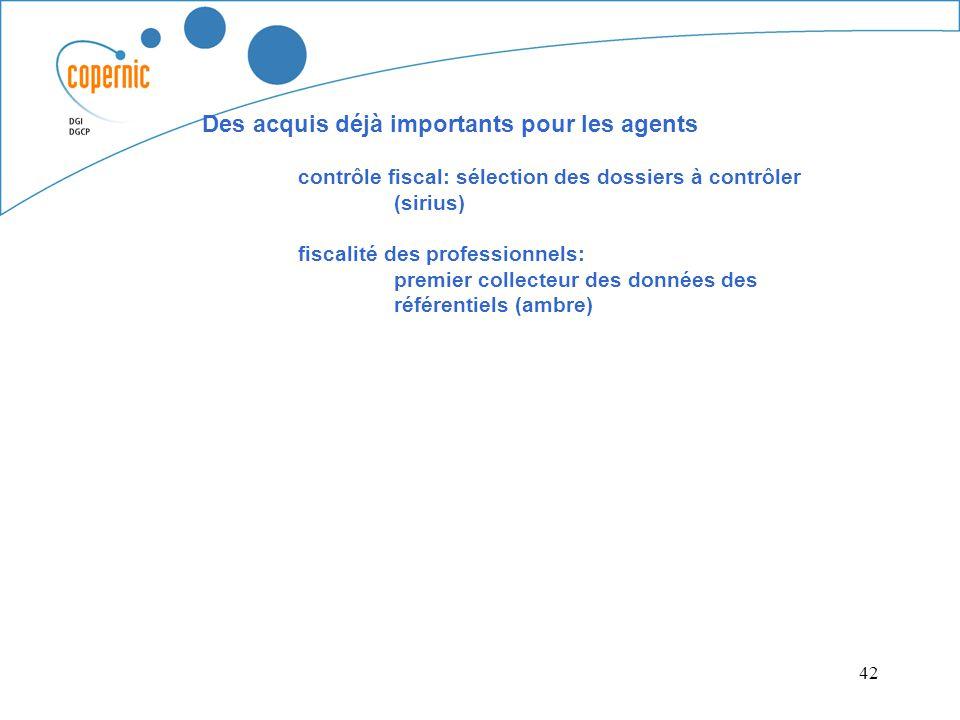 42 Des acquis déjà importants pour les agents contrôle fiscal: sélection des dossiers à contrôler (sirius) fiscalité des professionnels: premier colle