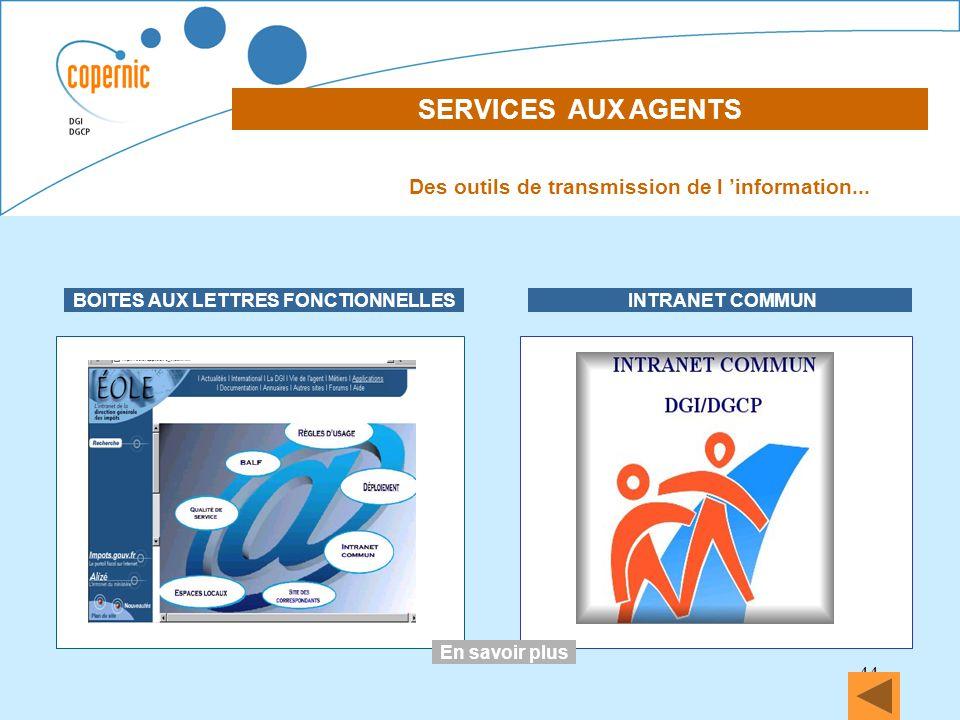 44 SERVICES AUX AGENTS DECLARATION DES REVENUS EN LIGNE BOITES AUX LETTRES FONCTIONNELLES INTRANET COMMUN Des outils de transmission de l information.