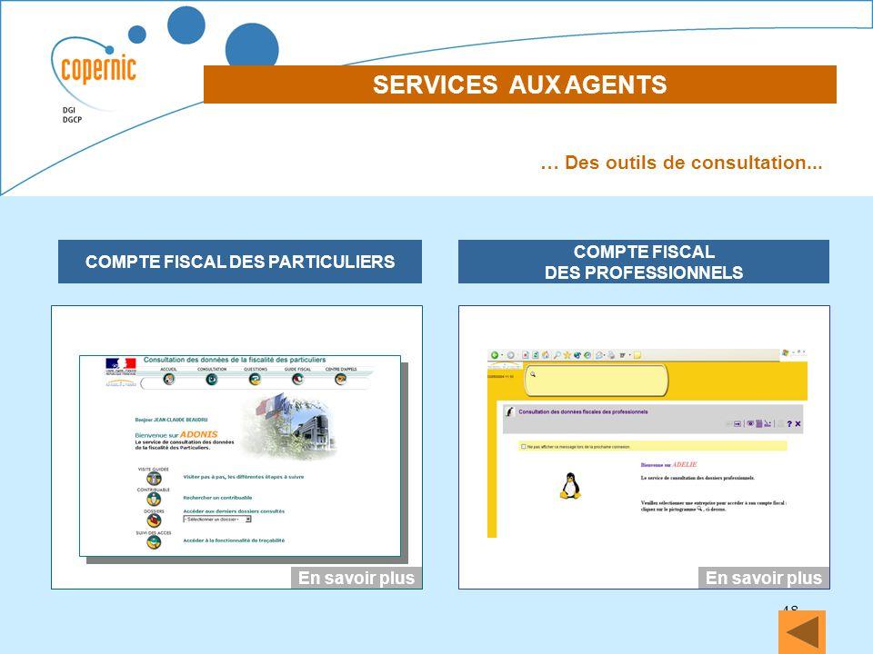 48 SERVICES AUX AGENTS DECLARATION DES REVENUS EN LIGNE COMPTE FISCAL DES PARTICULIERS COMPTE FISCAL DES PROFESSIONNELS … Des outils de consultation..