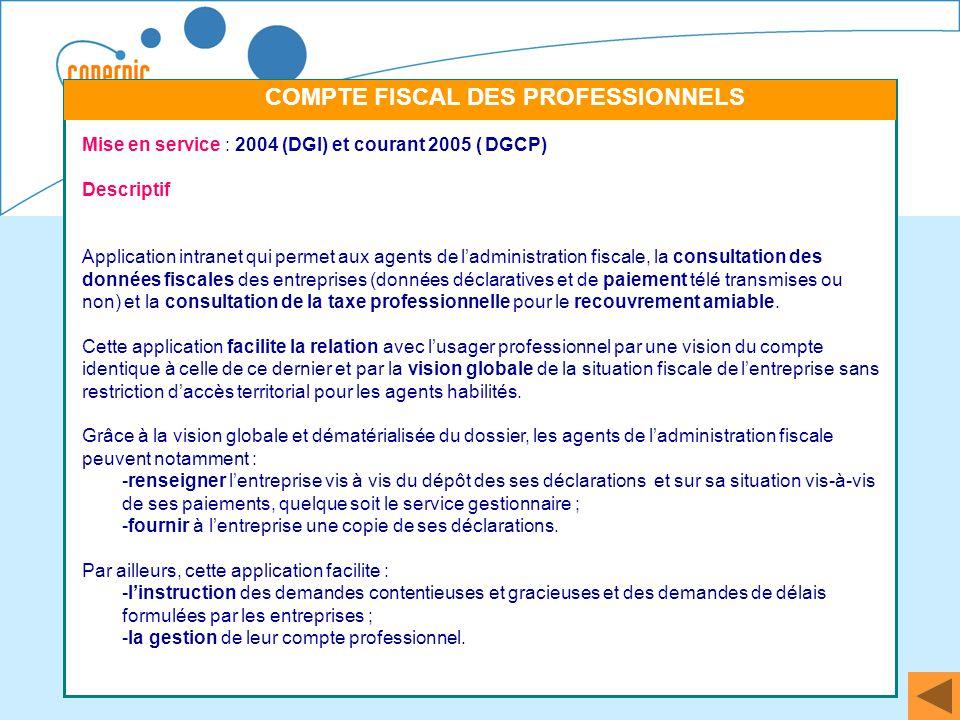50 Mise en service : 2004 (DGI) et courant 2005 ( DGCP) Descriptif Application intranet qui permet aux agents de ladministration fiscale, la consultat