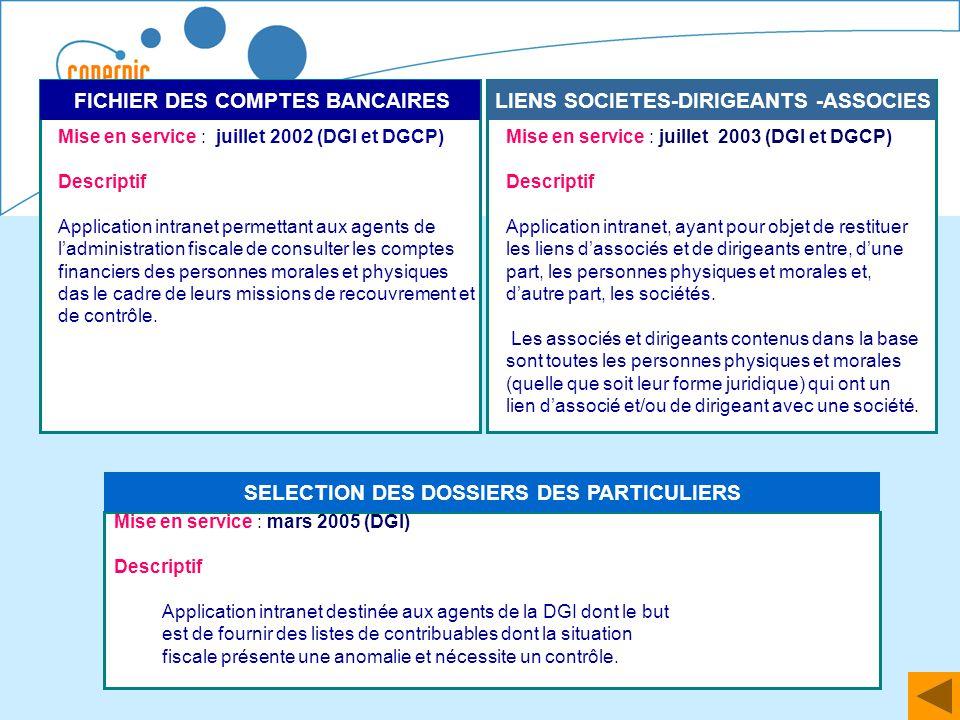 54 LIENS SOCIETES-DIRIGEANTS -ASSOCIES Mise en service : juillet 2003 (DGI et DGCP) Descriptif Application intranet, ayant pour objet de restituer les