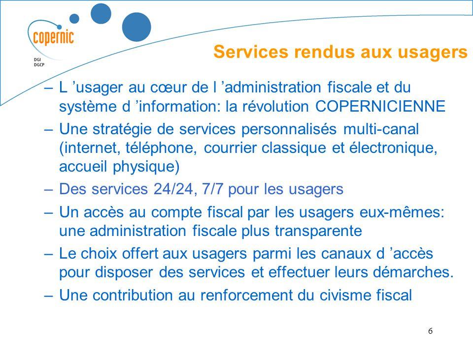 6 –L usager au cœur de l administration fiscale et du système d information: la révolution COPERNICIENNE –Une stratégie de services personnalisés mult