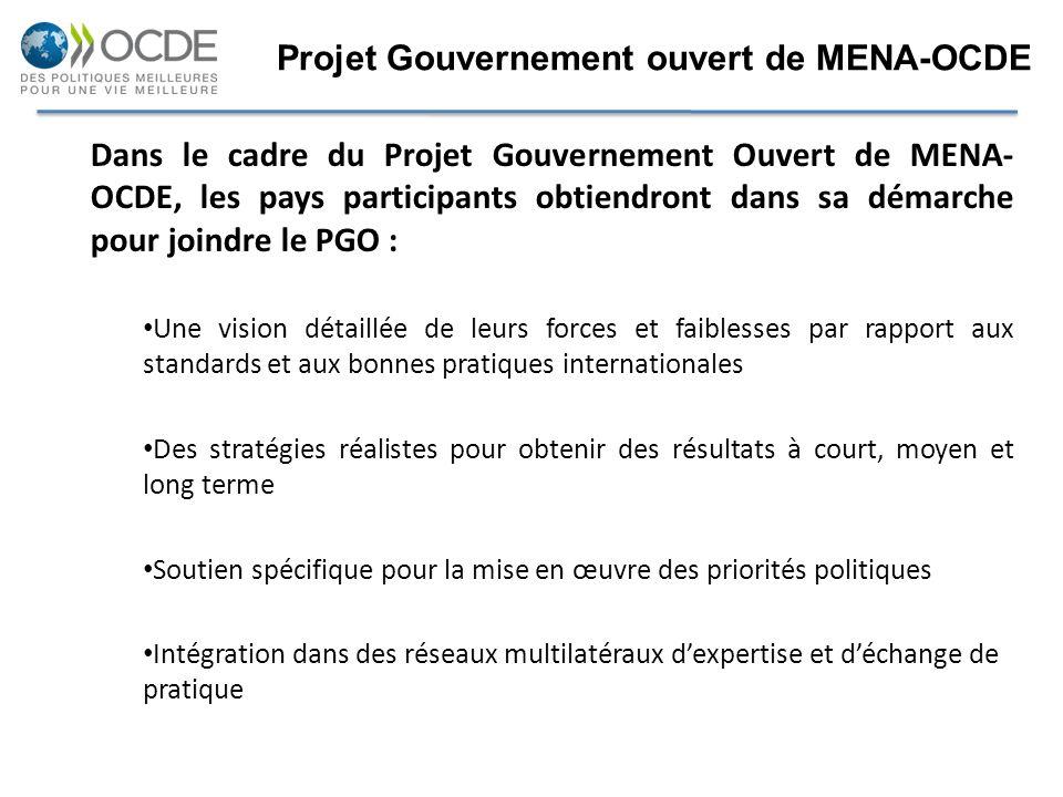 Dans le cadre du Projet Gouvernement Ouvert de MENA- OCDE, les pays participants obtiendront dans sa démarche pour joindre le PGO : Une vision détaill