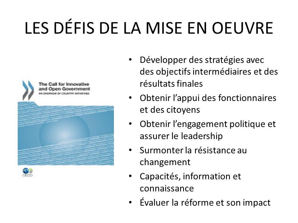 LES DÉFIS DE LA MISE EN OEUVRE Développer des stratégies avec des objectifs intermédiaires et des résultats finales Obtenir lappui des fonctionnaires